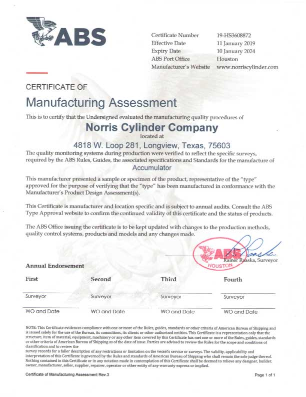 ABS Certificate of Manufacturing Assessment